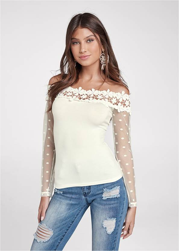 Swiss Dot Lace Top,Triangle Hem Jeans,High Heel Strappy Sandals