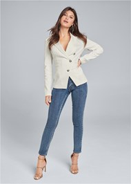 Full front view Twill Button Front Blazer