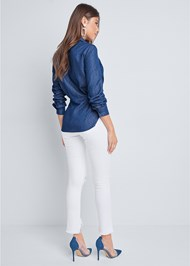 Full back view Chambray Knot Twist Top