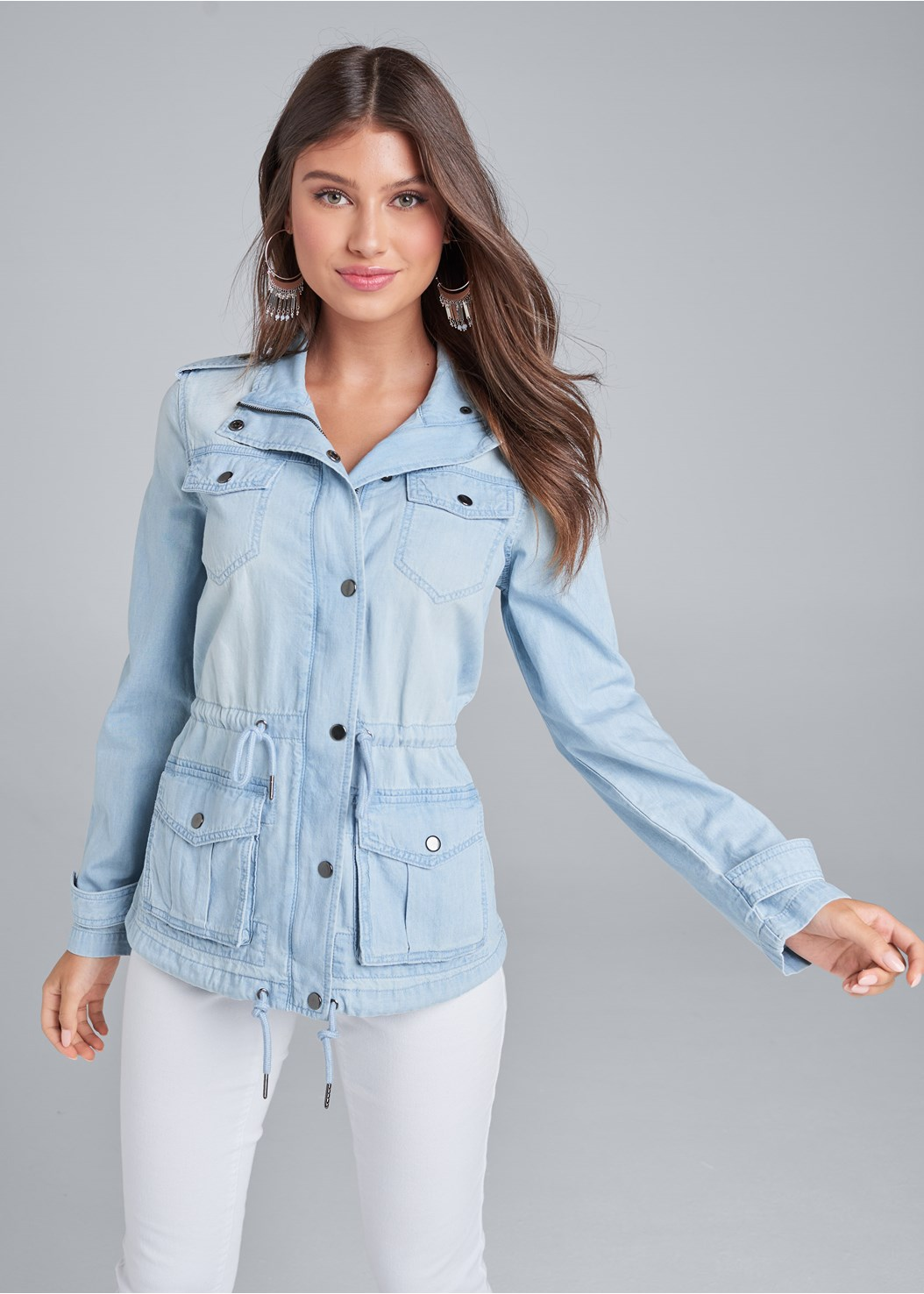 Jean Cargo Jacket,Basic Cami Two Pack,Color Capri Jeans