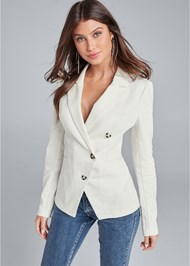 Cropped front view Twill Button Front Blazer