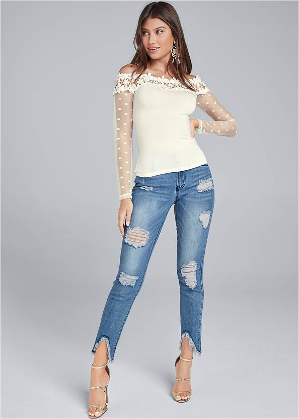 Full front view Swiss Dot Lace Top