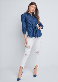 Full front view Chambray Knot Twist Top