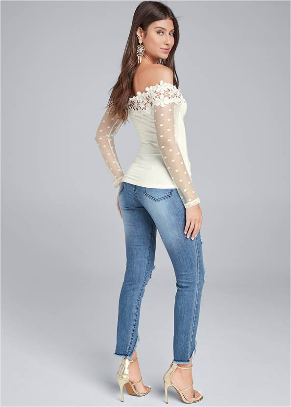 Full back view Swiss Dot Lace Top