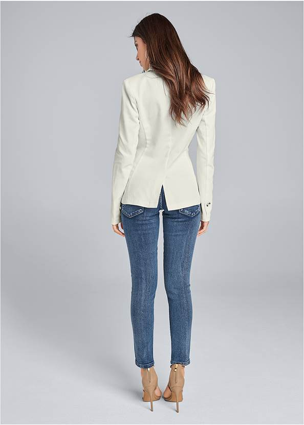 Full back view Twill Button Front Blazer