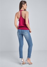 Back View Embellished Halter Neck Top