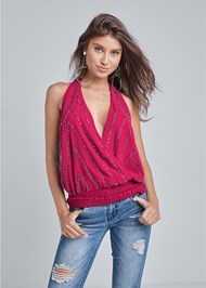 Front View Embellished Halter Neck Top