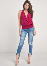 Alternate View Embellished Halter Neck Top