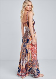 Full back view Beaded Print Maxi Dress