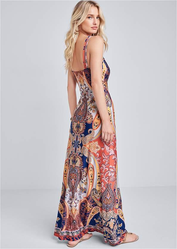 Full back view Beaded Print Maxi Dress