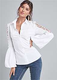 Alternate View Lace Balloon Sleeve Blouse