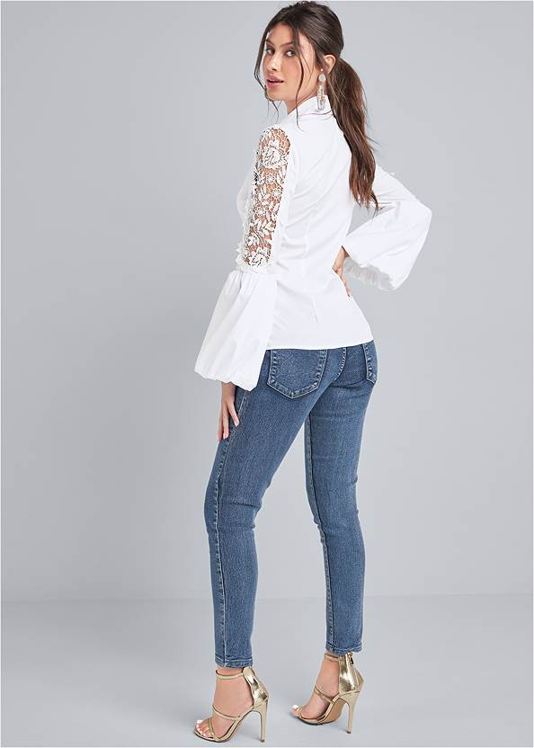 Back View Lace Balloon Sleeve Blouse