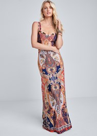 Full front view Beaded Print Maxi Dress