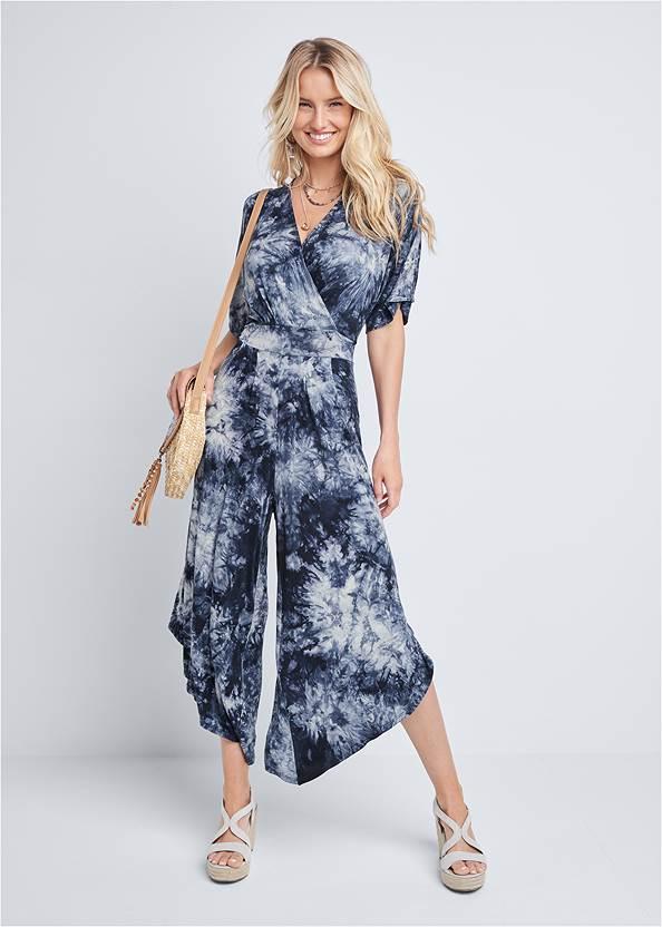 Tie Dye Surplice Jumpsuit,Sequin Straw Crossbody Bag