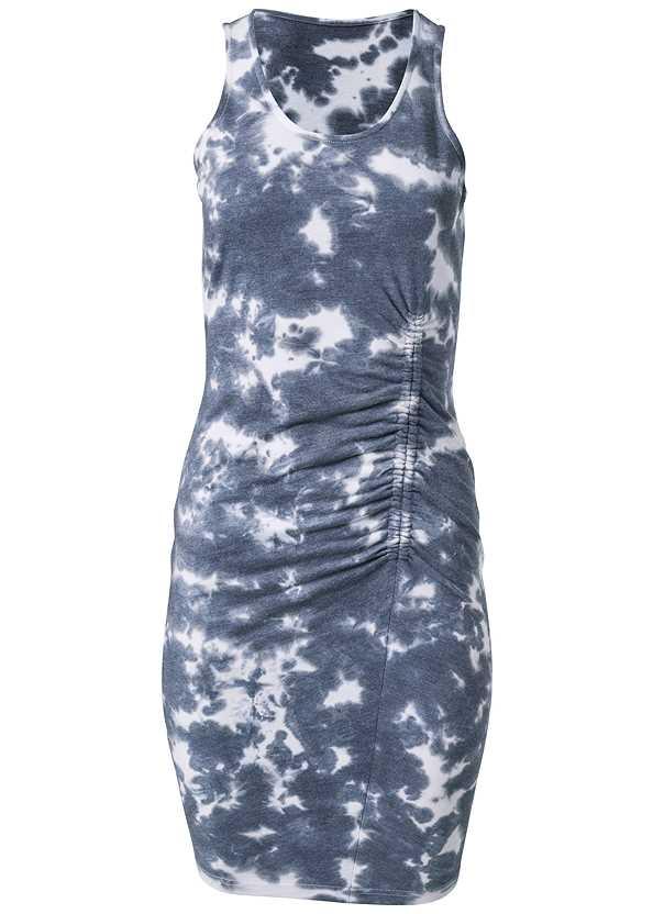 Tie Dye Ruched Lounge Dress,Tassel Hoop Earrings