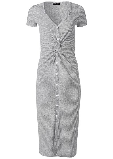 Plus Size Brushed Rib Knot Lounge Dress