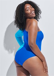 Cropped back view Sports Illustrated Swim™ Color Block One Sleeve One-Piece