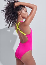 Back View Sports Illustrated Swim™ High Neck Sport One-Piece