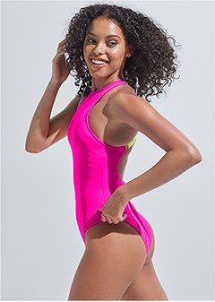 plus size sports illustrated swim™ high neck sport one-piece