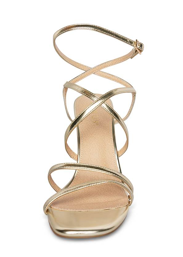 Front View Multi Strap Ankle Wrap Heels