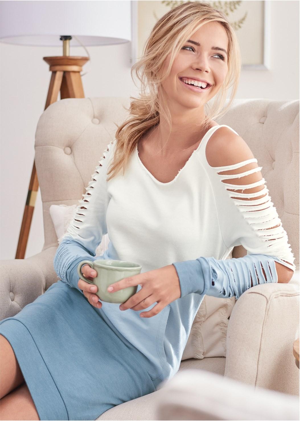 Ombre Slash Sleeve Lounge Dress