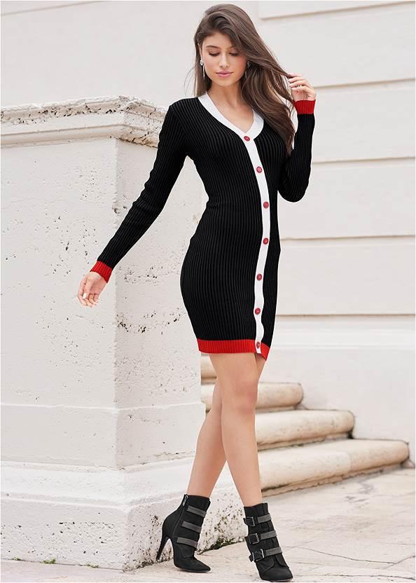 Alternate View Button Detail Sweater Dress