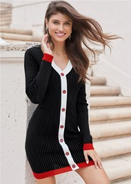 Cropped Front View Button Detail Sweater Dress