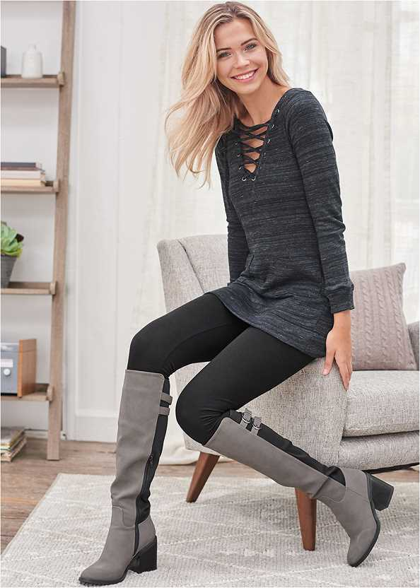 Lace Up French Terry Dress,Basic Leggings,Knee High Block Heel Boot