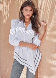 Cropped front view Asymmetrical Blouse