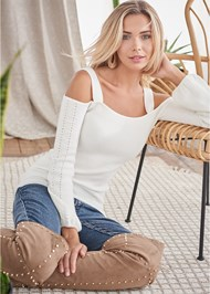 Cropped Front View Cold Shoulder Sweater