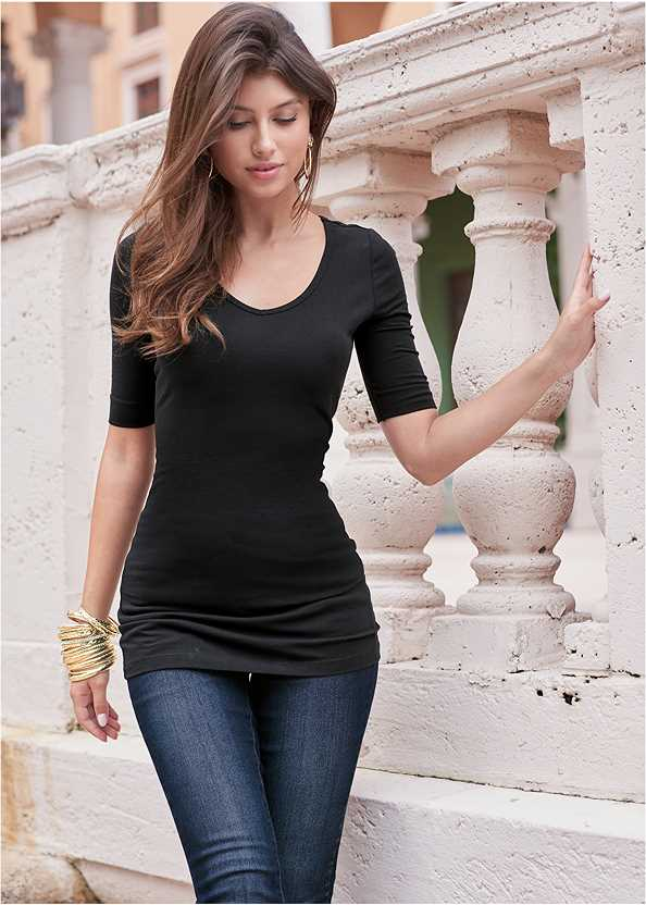 Long And Lean V-Neck Tee,Basic Leggings,Mid Rise Slimming Stretch Jeggings