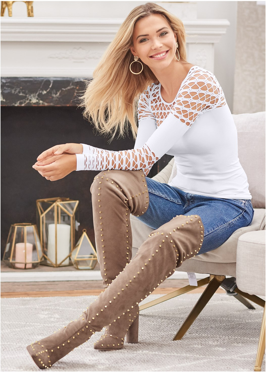 Seamless Fitted Cut Out Top,Mid Rise Slimming Stretch Jeggings,Mid Rise Color Skinny Jeans,Reversible Jeans,Faux Leather Pants,Smooth Longline Push Up Bra,Studded Over The Knee Boots,Tassel Hoop Earrings,Rhinestone Fringe Earrings,Crisscross Choker