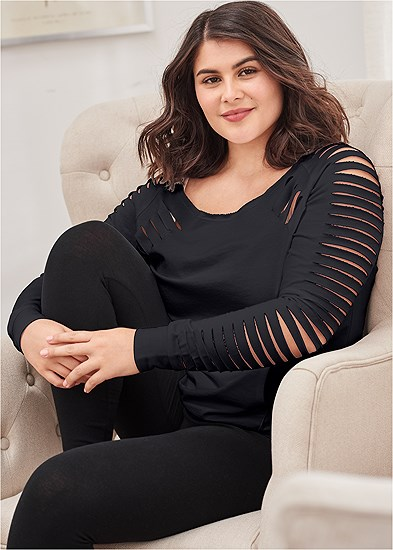 Plus Size Slash Detail Sweatshirt