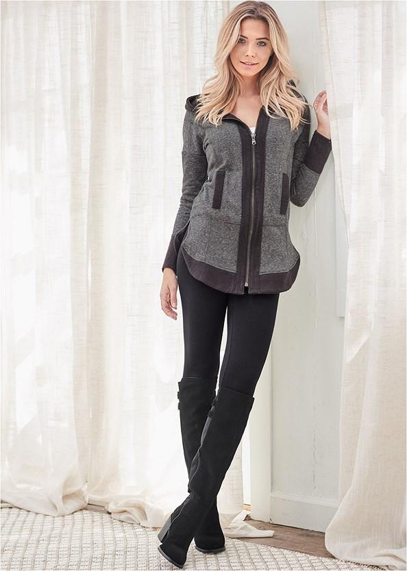 Tunic Length Zip Up Hoodie,Basic Leggings,Stretch Back Boots,Print Detail Handbag