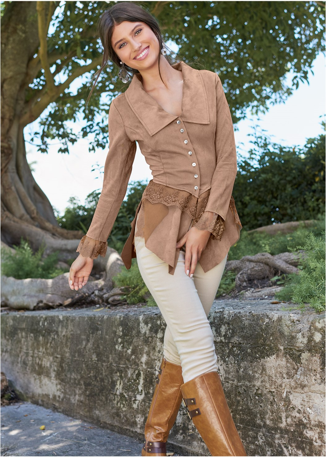 Faux Suede And Lace Jacket,Lace Up Tall Boots,Buckle Riding Boots,Tall Belt Detail Boot,Medallion Earrings