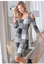 Cropped Front View Cold Shoulder Checkered Dress