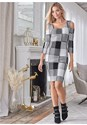 Alternate View Cold Shoulder Checkered Dress