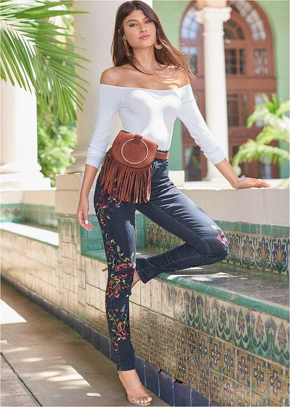 Floral Skinny Jeans,Off The Shoulder Top,High Low Blouse,High Heel Strappy Sandals,Faux Suede Fringe Belt Bag