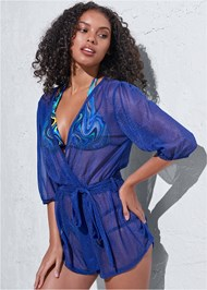 Front View Sports Illustrated Swim™ Wrap Romper Cover-Up