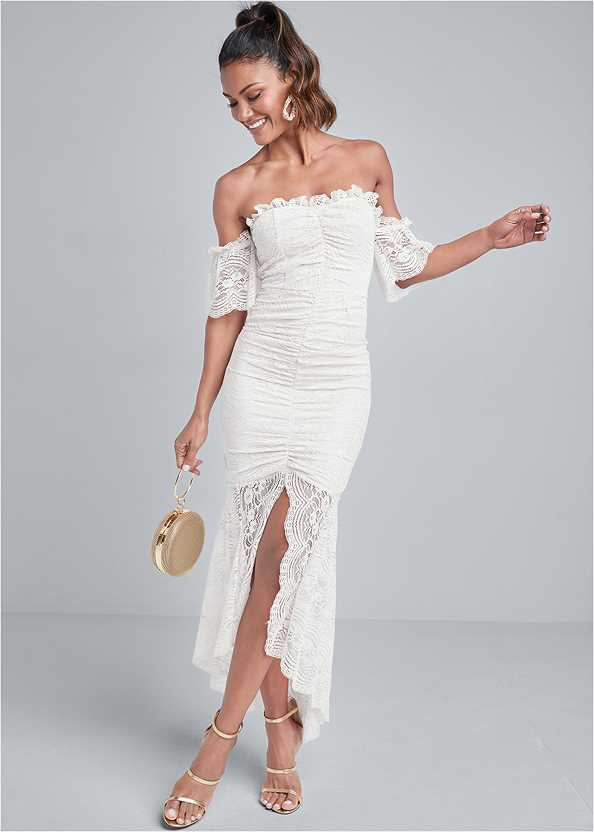Off Shoulder Lace Dress,Strapless Bra With Geo Lace,High Heel Strappy Sandals,Beaded Rope Earrings,Ring Handle Circle Clutch