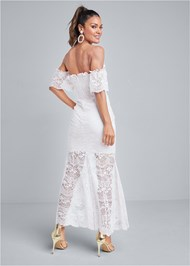 Full back view Off Shoulder Lace Dress