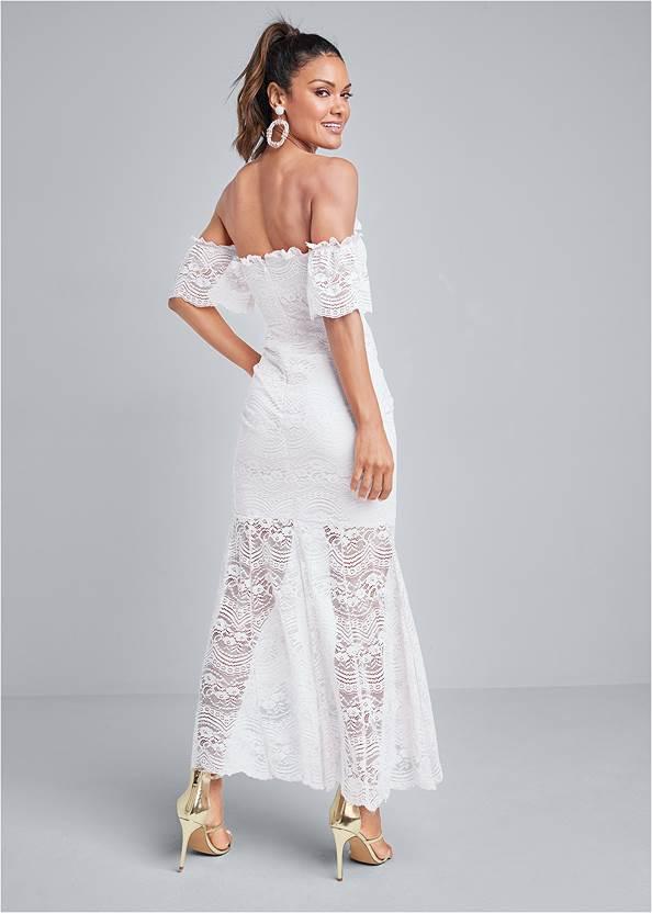 Full back view Off Shoulder Lace Dress