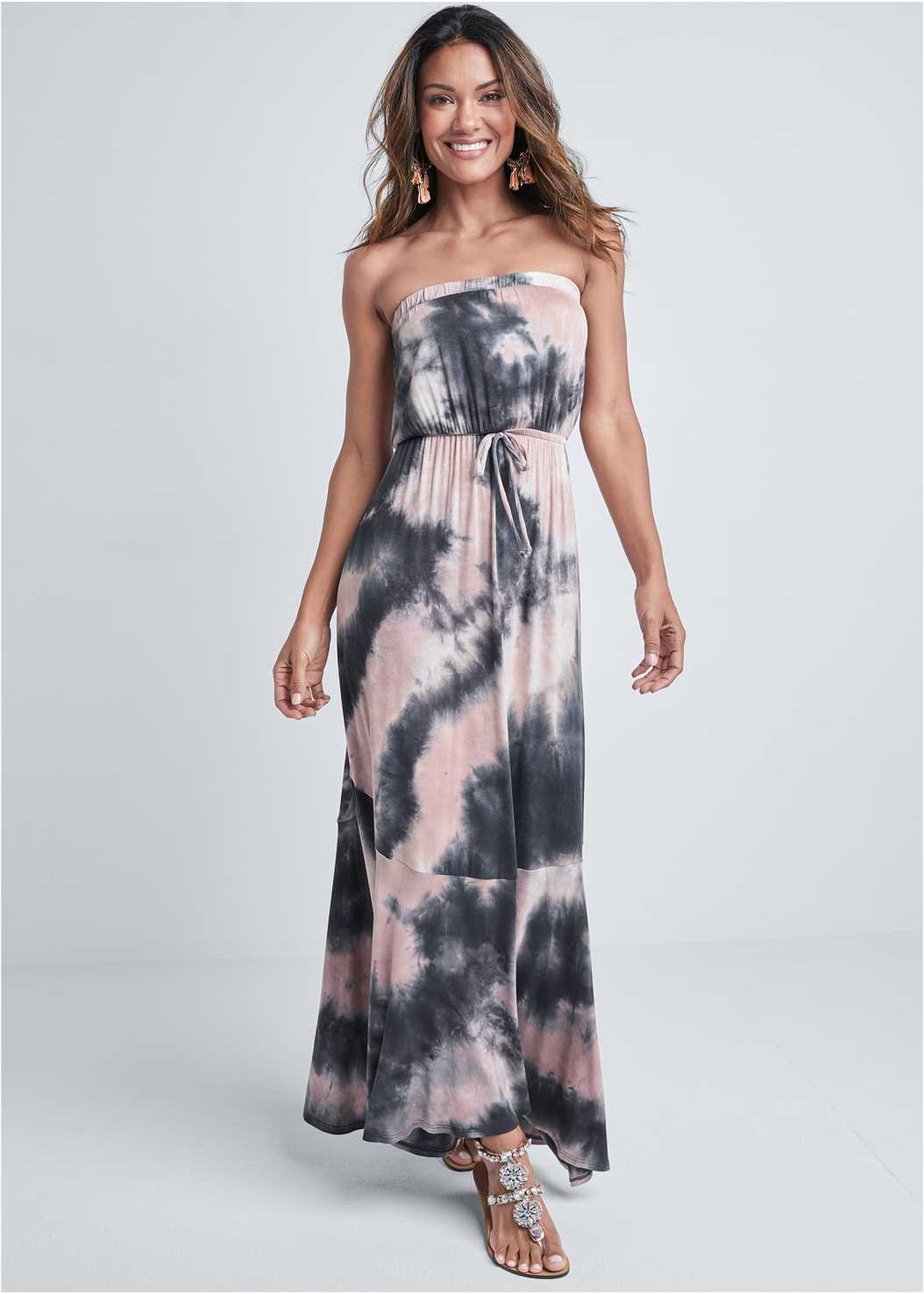 Strapless Maxi Dress,Pearl™ By Venus Strapless Bra,Jean Jacket,Tassel Detail Hoop Earrings