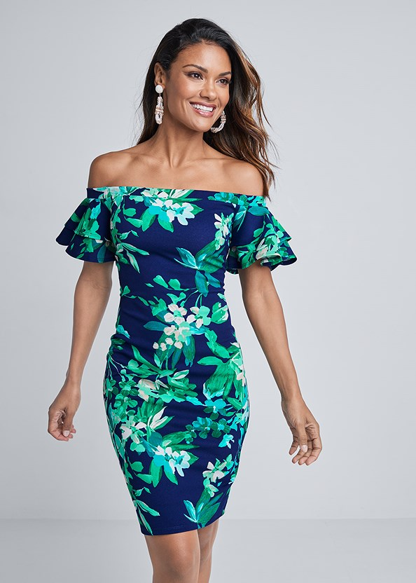 Off Shoulder Floral Dress,Strapless Bra With Geo Lace,High Heel Strappy Sandals,Beaded Rope Earrings