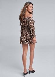 Full back view Leopard Smocked Dress