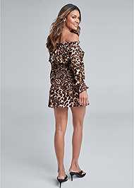 Full back view Leopard Smocked Dress