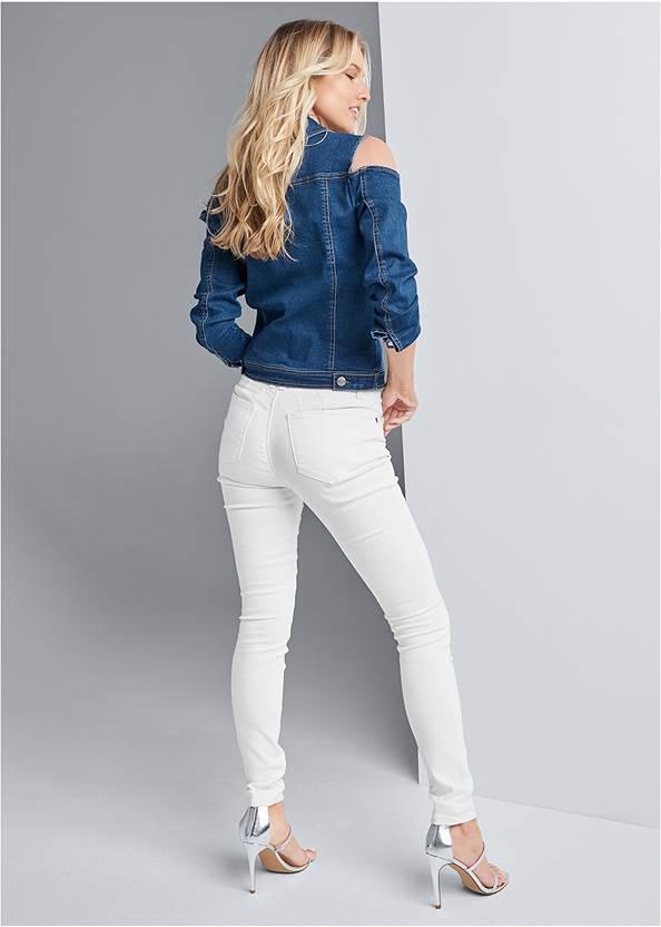 Back View Cold Shoulder Jean Jacket
