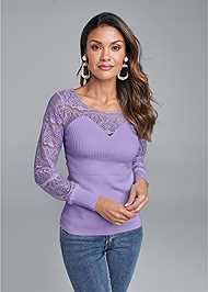 Front View Lace Sleeve Sweater