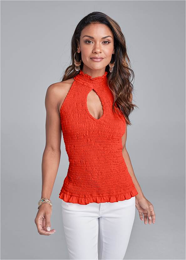 Cropped front view Smocked Mock Neck Top