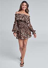 Full front view Leopard Smocked Dress